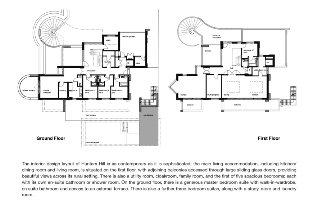interior design layout of hunters hill surrey